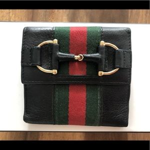 Gucci black leather buckle wallet